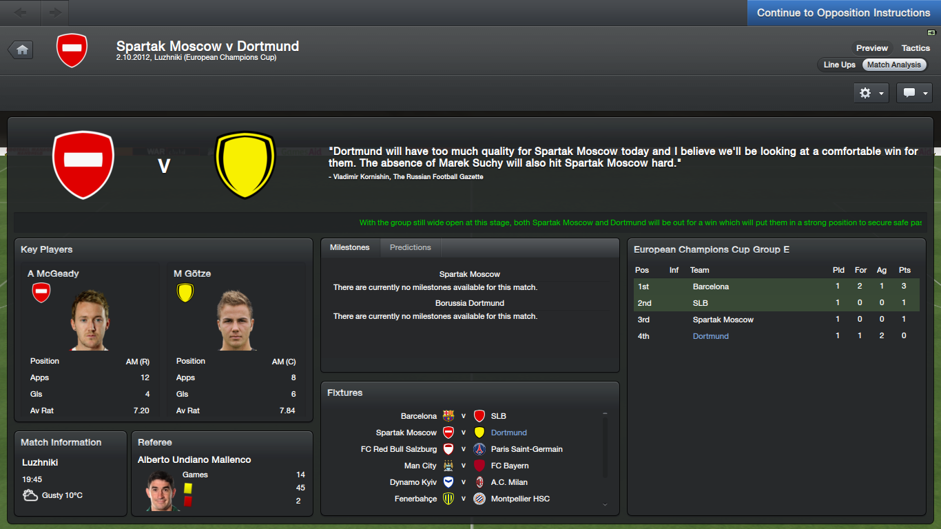 FM13 Spartak Moscow Dortmund match preview