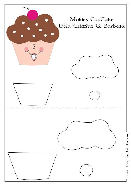 Molde Cupcake Cartão Convite Dia das Mães ou Lembrancinha Dia da Mulher