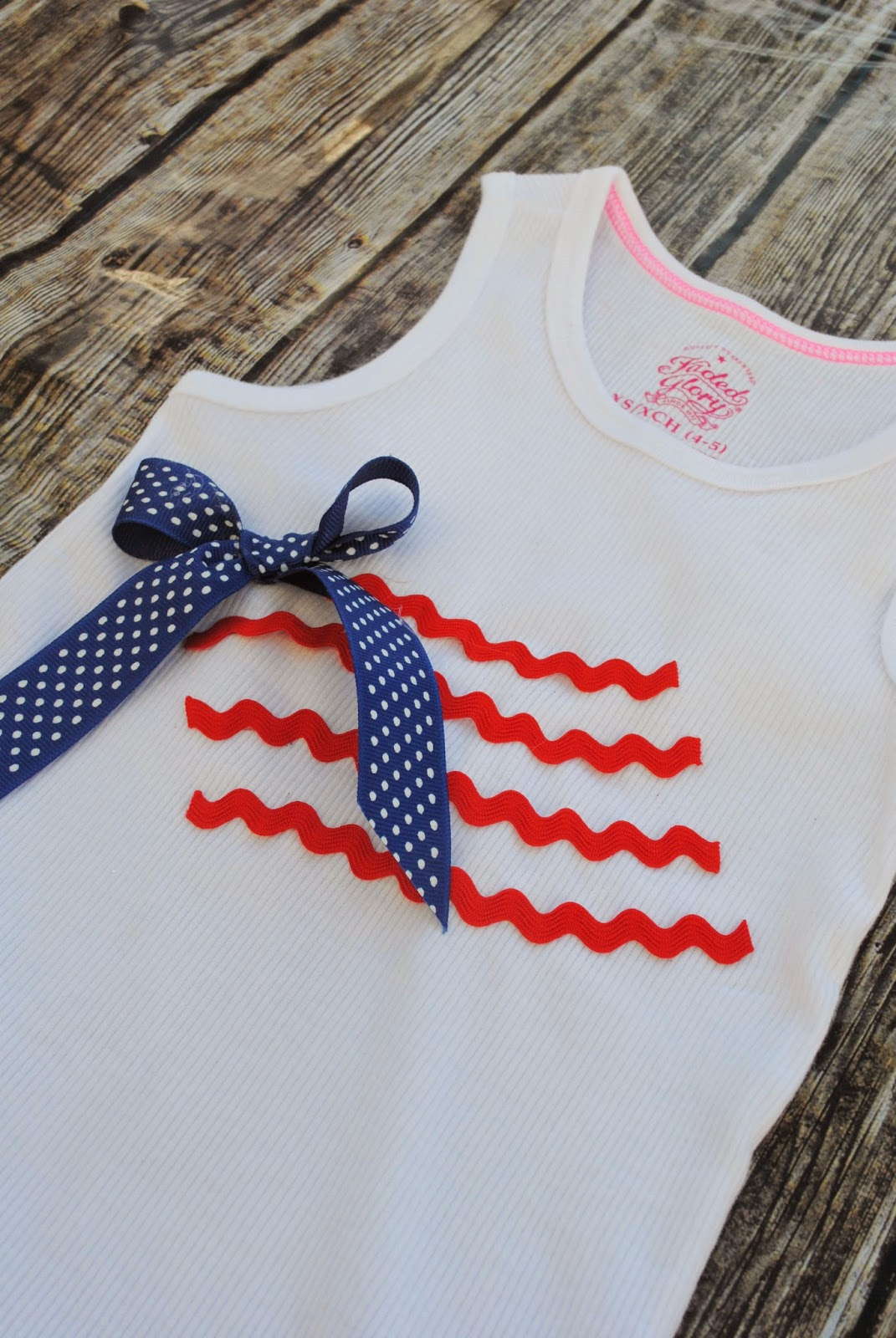 red ric rac, blue ribbon, patriotic shirt