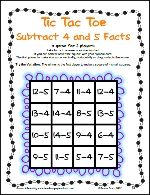 math worksheet : fun games 4 learning giving away tic tac toe math fun  it s free  : Tic Tac Toe Math Worksheets