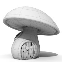 Wireframe mushroom cartoon