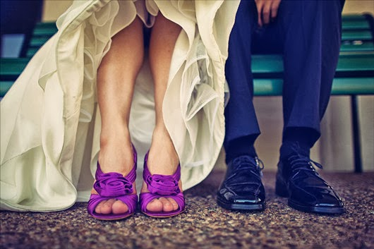 beautiful purple wedding shoes groom bride