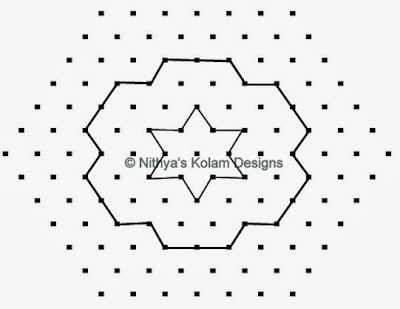 2 Pongal Kolam Interlocked dots 13 to 7