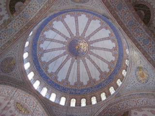 The interior of the Blue Mosque's dome.