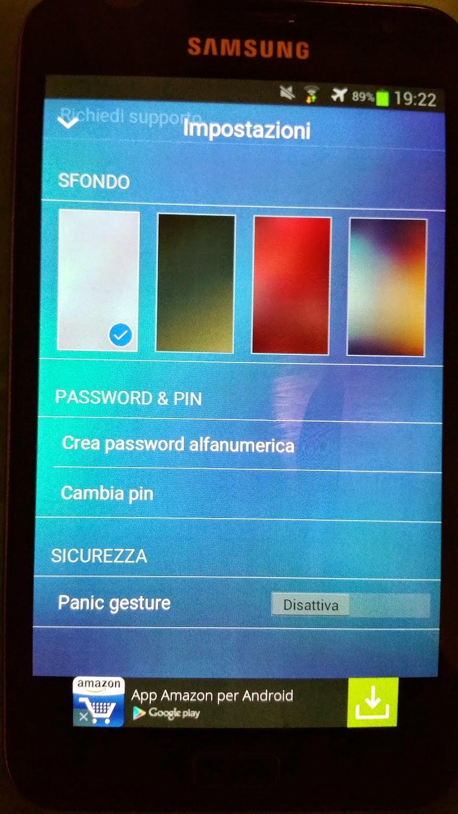 impostazioni dell'app con swipe verso l'alto