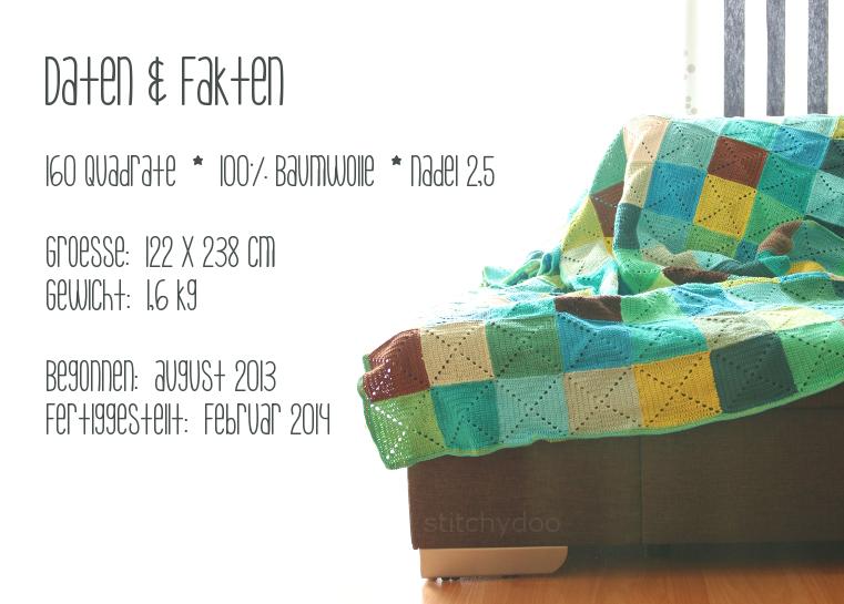 Häkeldecke - Daten und Fakten - 160 Quadrate, Baumwolle