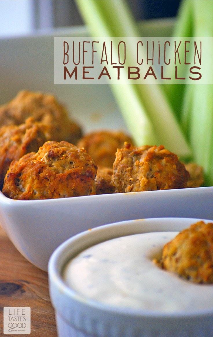 Buffalo Chicken Meatballs | by Life Tastes Good are easy to make and perfect when you need delicious party food. I love the buffalo chicken wing flavor in these meatballs! They are the perfect appetizer for spicing up your holiday parties! #SeasonedGreetings