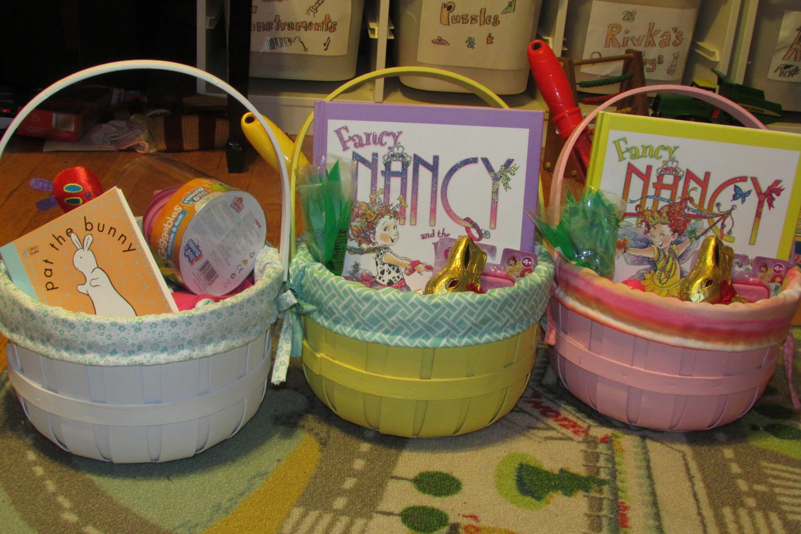 Becoming supermommy my first easter or why is that jewish clown our finished easter baskets hopefully worth my utter public humiliation negle Choice Image