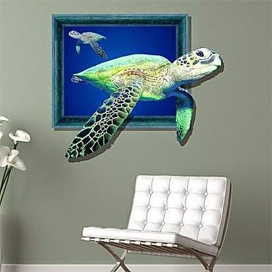 Adhesivo de pared 3D Tortugas