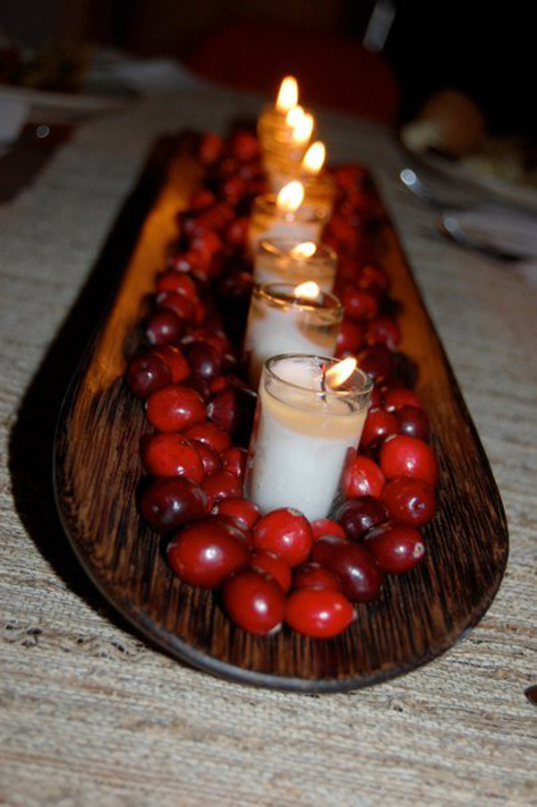 Thanksgiving Centerpieces with Cranberries