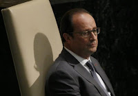 French President Francois Hollande waits to address attendees during the 70th session of the United Nations General Assembly at the U.N. Headquarters in New York, September 28, 2015. (Credit: Reuters/Carlo Allegri) Click to Enlarge.