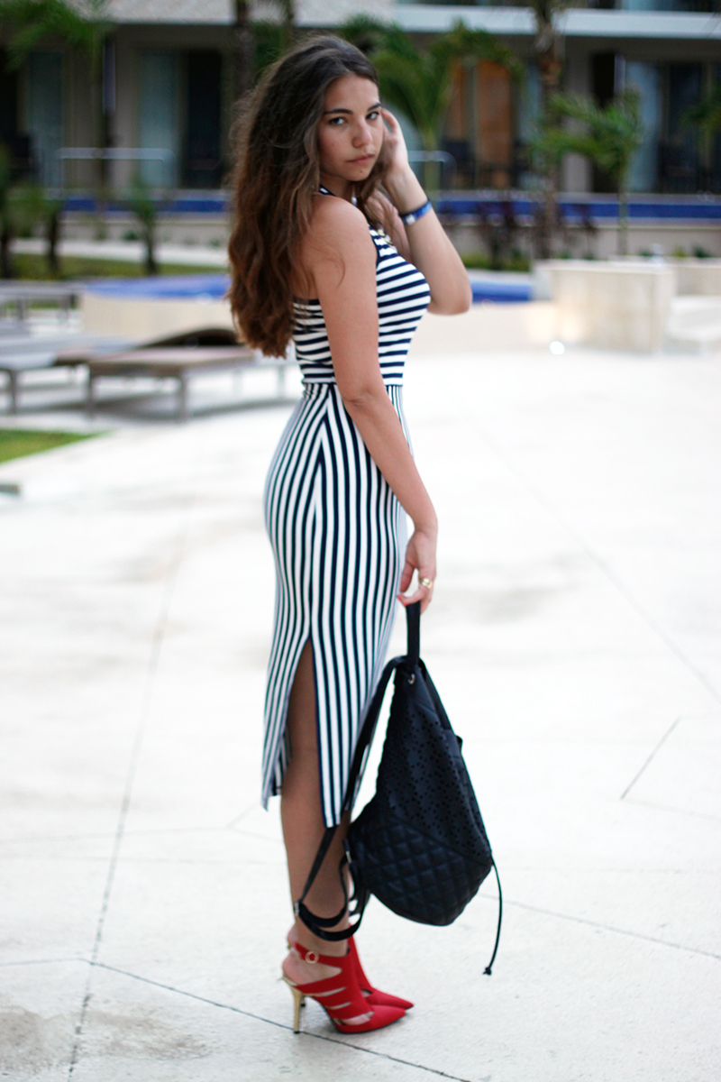 shop maude striped slit maxi