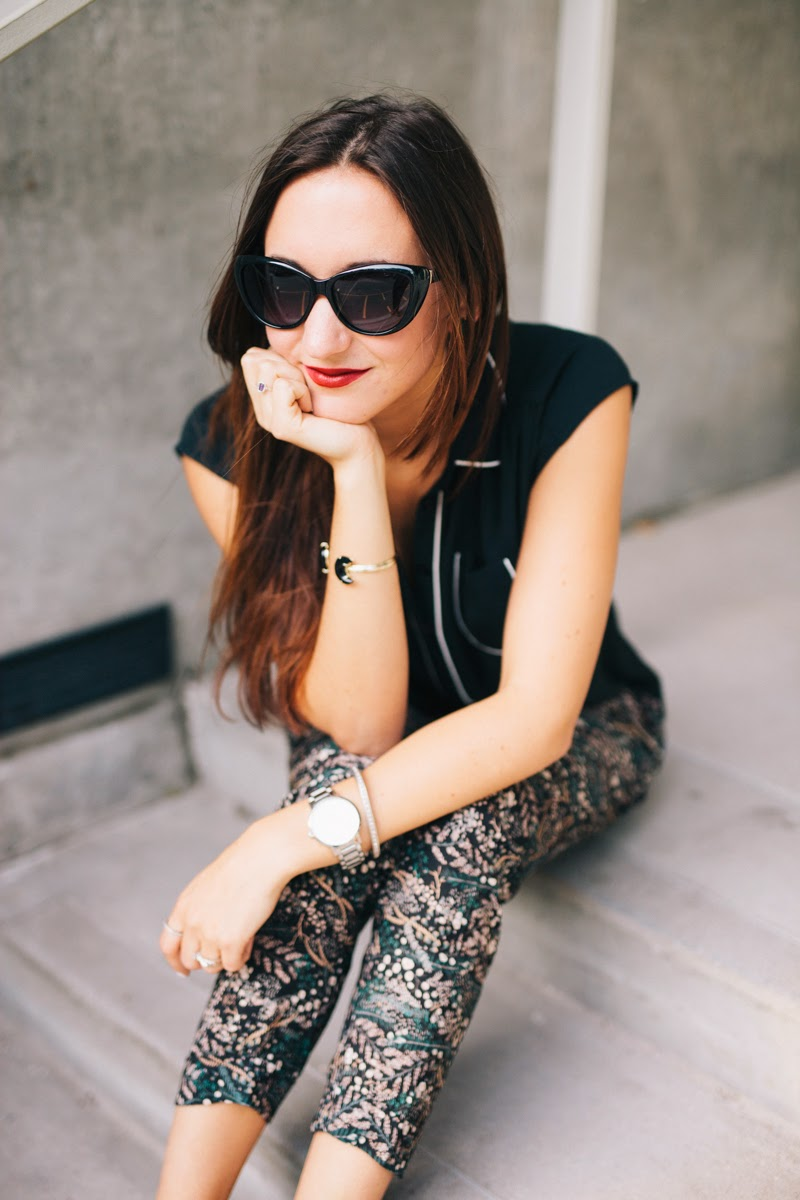 pajama pants style, sleep wear style, loft trousers, tuxedo top, old navy bucket bag, tan bucket bag, marc jacobs cat eye sunglasses, fall fashion, sleepwear style, kate spade ny  jewelry, gramercy grand watch