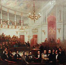 Escena del Congreso de los Diputados a mediados del siglo XIX