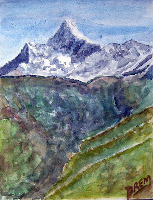 Watercolor Painting of Mt. Ama Dablam
