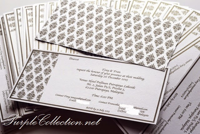 Wedding Invitation Card Printing Malaysia, Kuala Lumpur, Selangor, black damask pattern, white, pearl card 250g, Hotel Pullman Putrajaya Lakeside, December, wedding decoration services, personalised, personalized, handmade, hand crafted, floral flower, peonies, design, minimalist, simple, kuantan, pahang, penang, bukit mertajam, perak, ipoh, taiping, hometown, melaka, seremban, johor bahru, muar, singapore, australia, melbourne, asian, chinese, modern, sydney, nsw, adelaide, canberra, buckle, satin ribbon