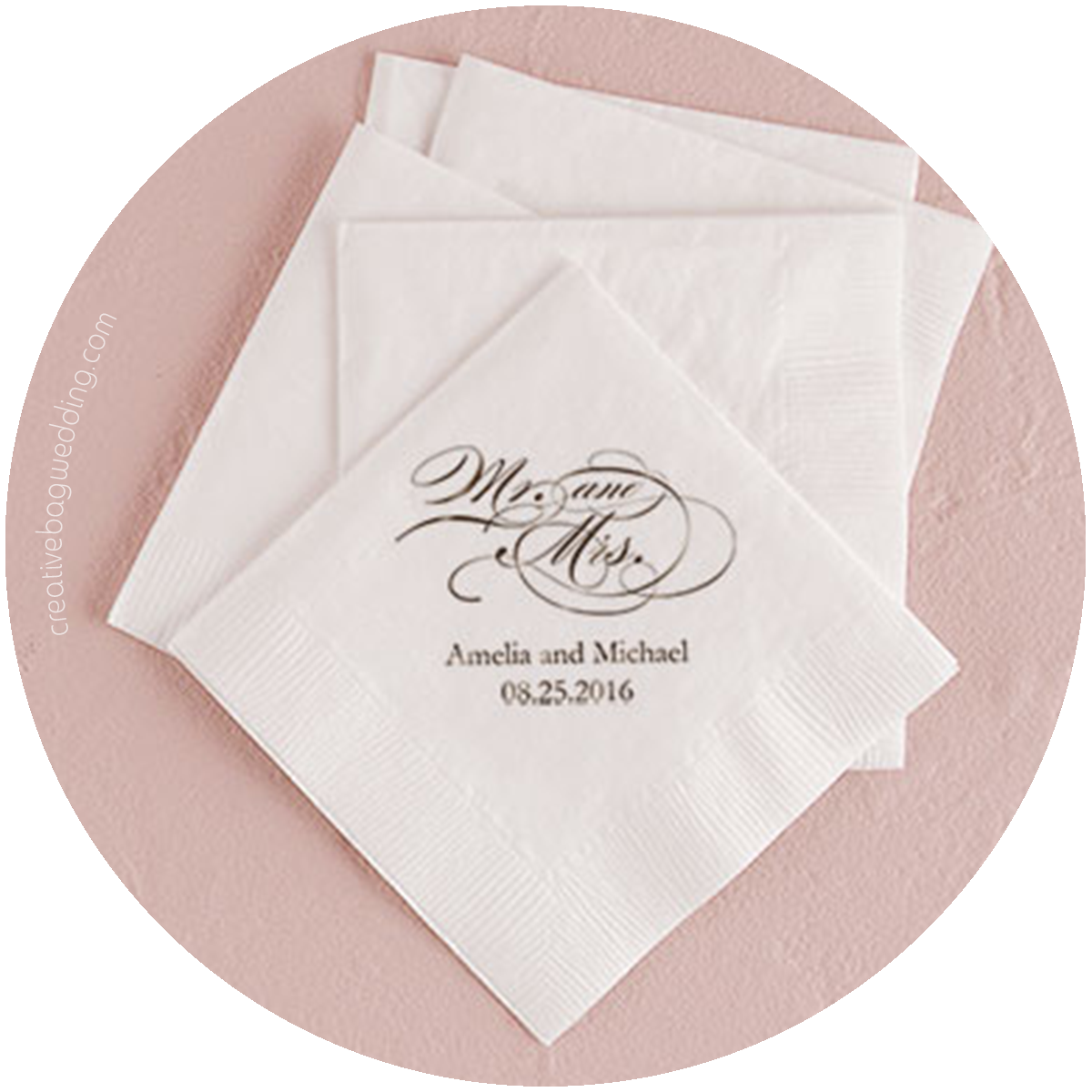 custom napkins from Creative Bag Wedding | Creative Bag