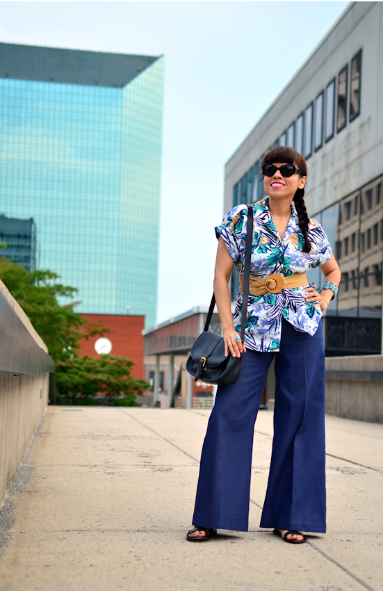 Tropical floral top and wide leg pants