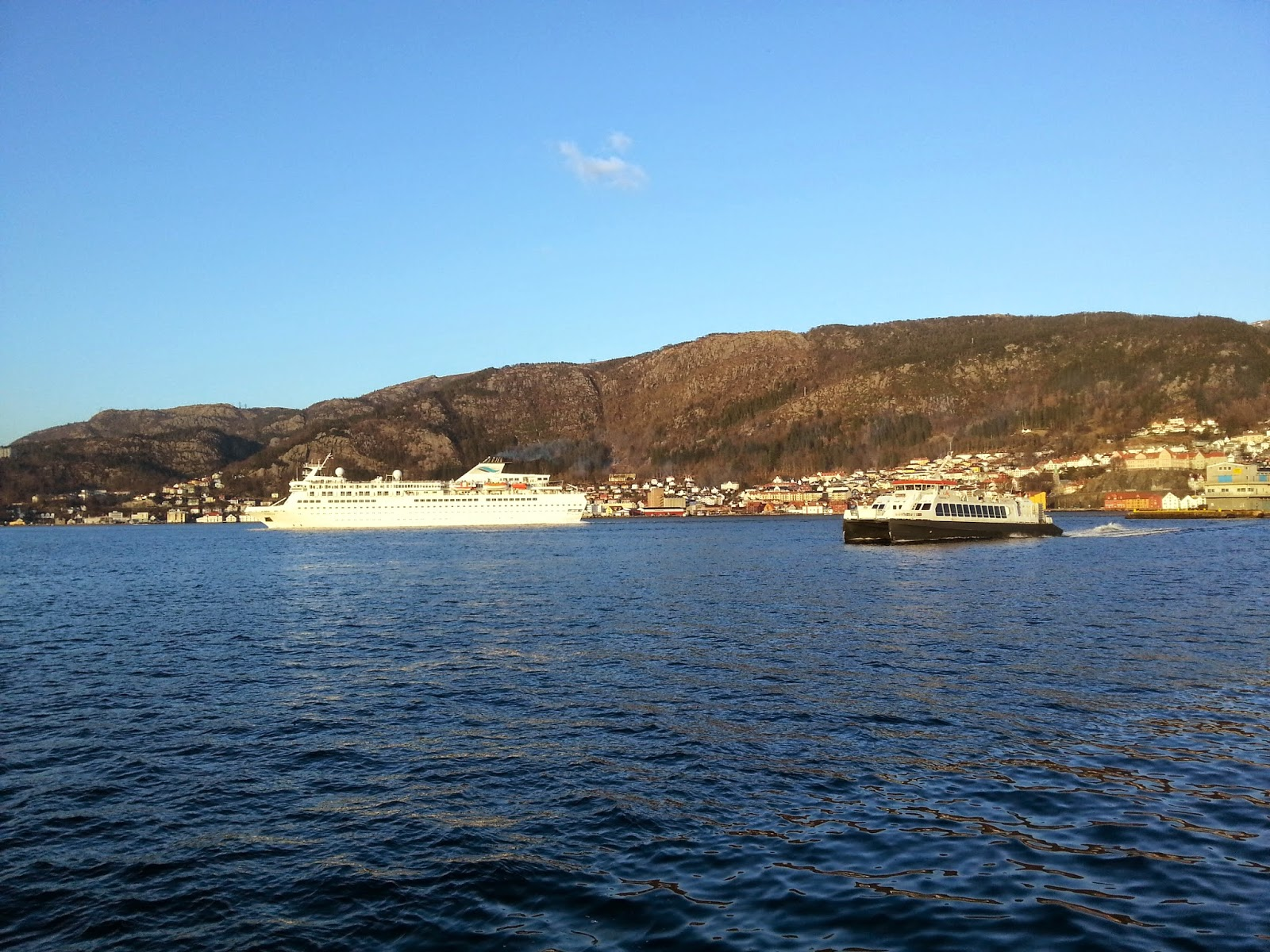Voyages of Discovery cruise ship MV Voyager in Bergen, Norway