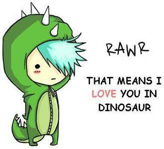 Funny cartoon dinosaurs in love