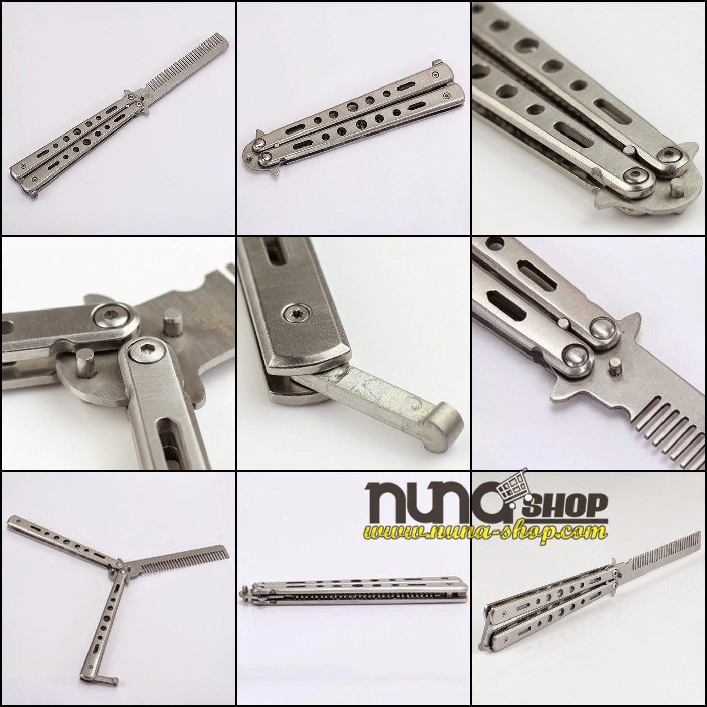 Metal Practice Balisong Butterfly Comb Knife Trainer Training Dull Tool