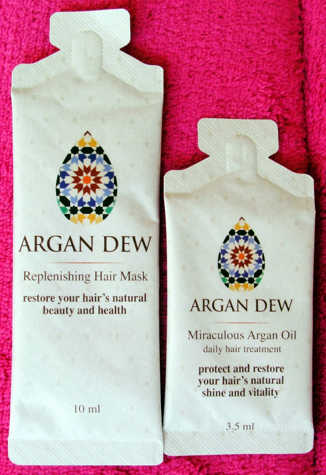 Arga Dew Replenishing Hair Mask and Miraculous Argan Oil Samples