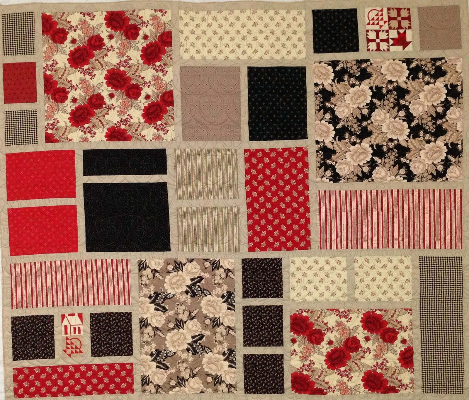 Trish Wells Red, Tan and Black Squares Quilt
