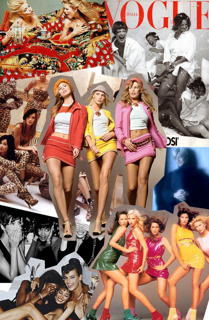 Supermodels in music videos, best moments / Vogue Italia 1993, Linda Evangelista in Freedom, Claudia Schiffer & Nadja Auermann photographed by Richard Avedon for Versace campaign, supermodels in Alaia, Christy Turlington, Nadja Auermann, Cindy Crawford, Stephanie Seymour & Claudia Schiffer in Versace campaign, Niki Taylor, Claudia Schiffer & Nadja Auermann photographed by Steven Meisel for Vogue 1994 / via fashionedbylove.co.uk british fashion blog