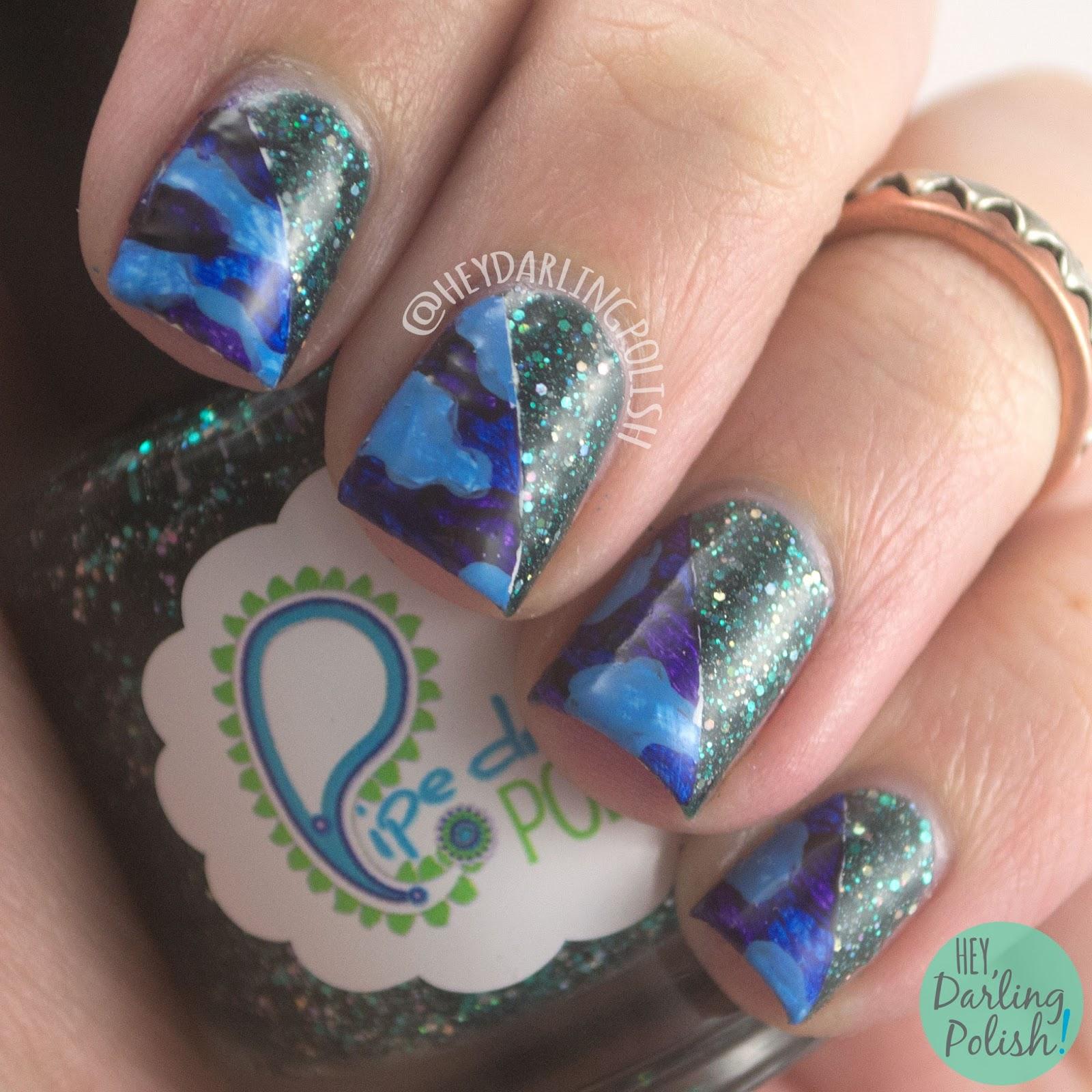 nails, nail art, nail polish, green, glitter, camouflage, hey darling polish, 52 week challenge,