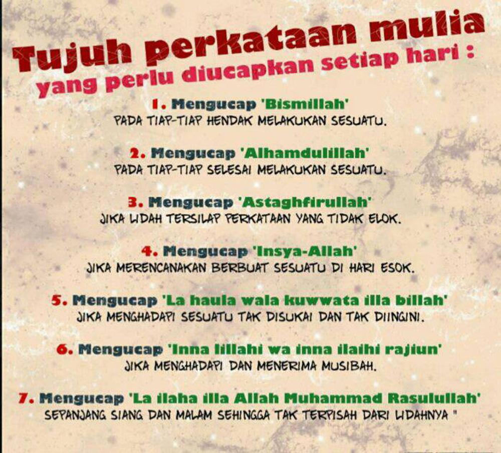 7 PERKATAAN MULIA DALAM ISLAM