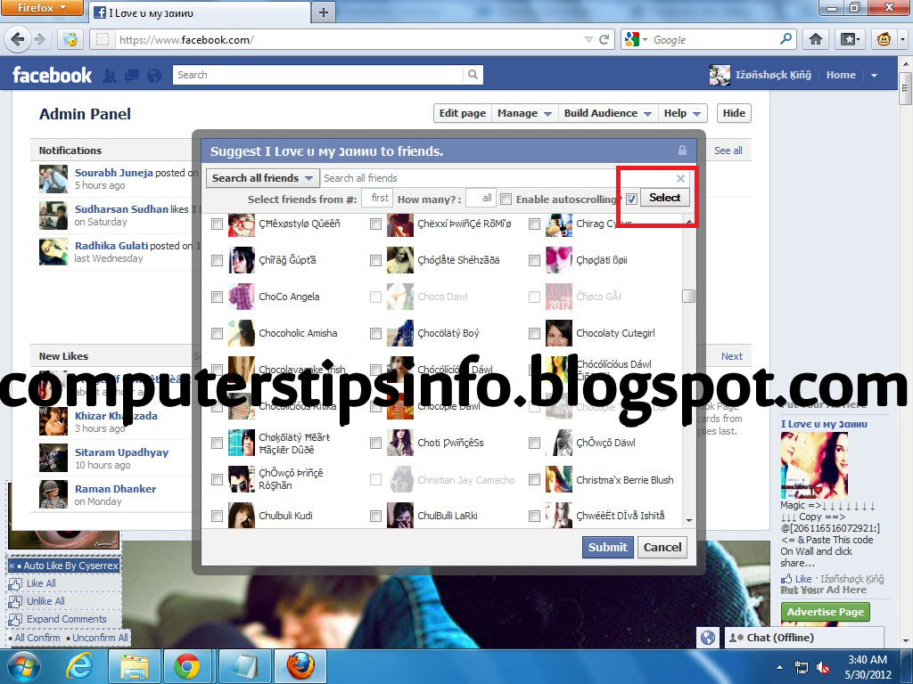 How to Select all/Invite all Friends in Facebook Fan page or Event at once