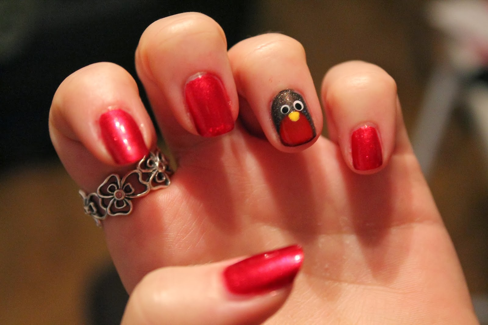Doing my friends nails robin nail art gingerbread smiles christmas nail art red robin prinsesfo Gallery