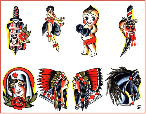 Tattoo Art Styles: traditional tattoo flash art
