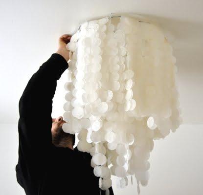 hanging faux capiz chandelier