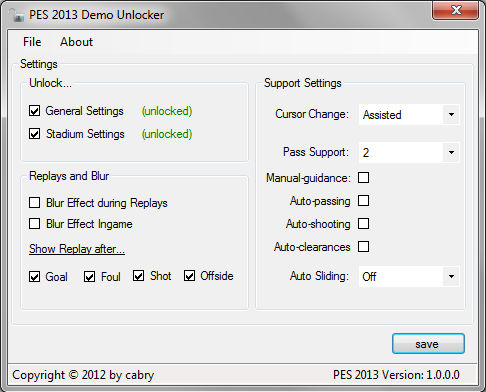 PES 2013 Demo Unlocker 1.1.1 by cabry