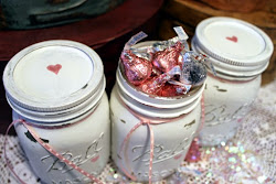 Shabby Painted Mason Jar