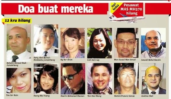 Kru Dan Penumpang Pesawat MH370 Yang Malang ~ berita panas terkini