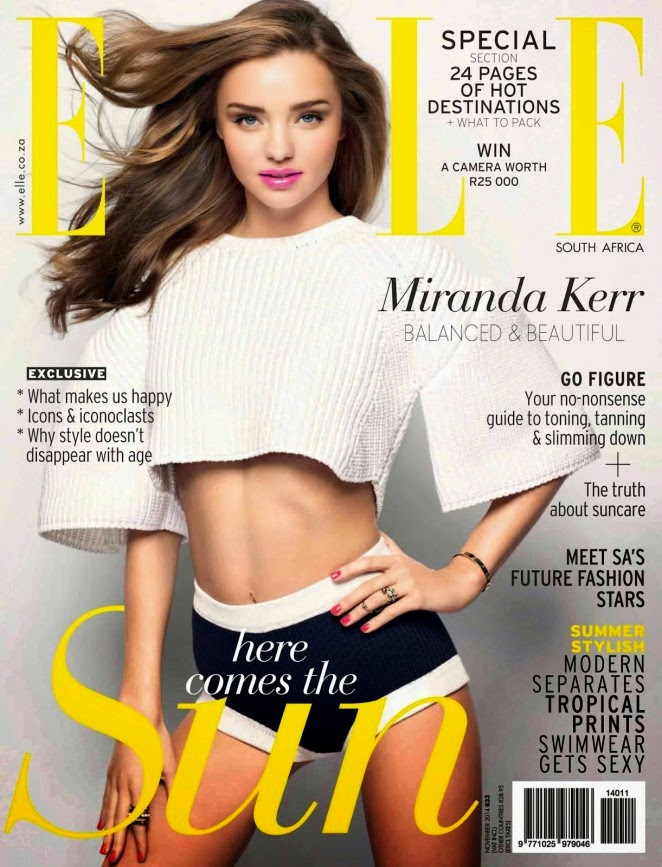 Miranda Kerr covers Elle South Africa November 2014 in a sporty ensemble