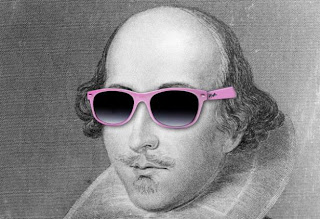 Shakespeare with pink sunglasses on