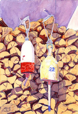 Firewood - Watercolor by Paul Sherman