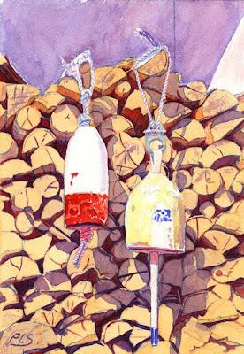 Firewood - Watercolor by Paul Sherman