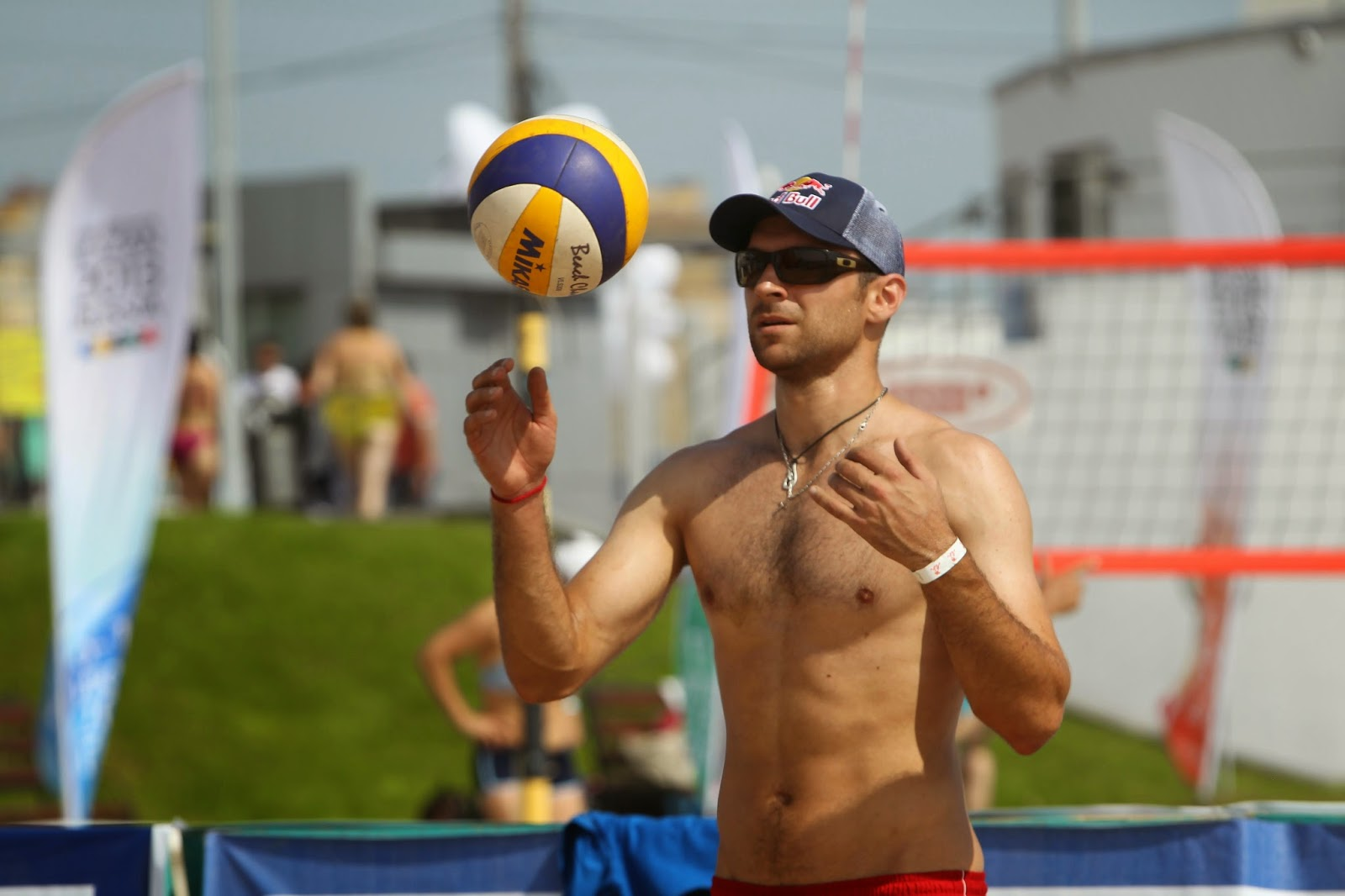 Shirtless Man Beach Volleyball