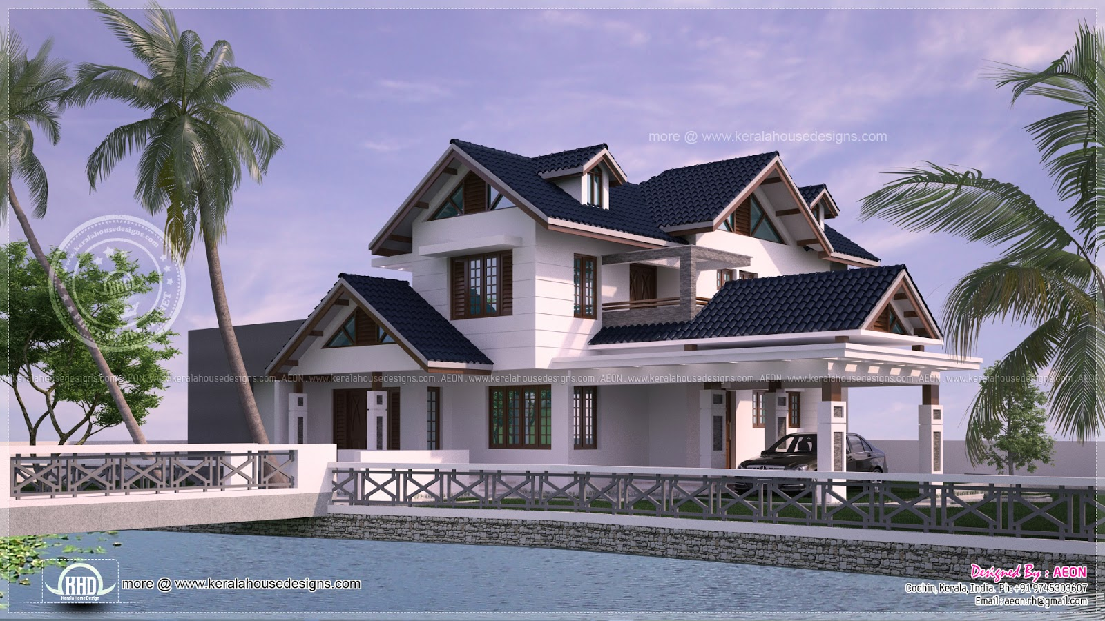 River side kerala style residence exterior design kerala for River home plans