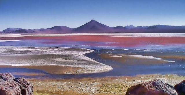Laguna Colorada is a shallow salt lake in the southwest of Bolivia. One of several places on Earth whose colors are affected by nonphotosynthetic pigments. UW doctoral student Eddie Schwieterman has published research on how such nonphotosynthetic biosignatures might appear on exoplanets, or those outside our solar system. Credit: Noemí Galera / Flickr