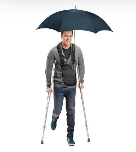 Hands free over the shoulder umbrella