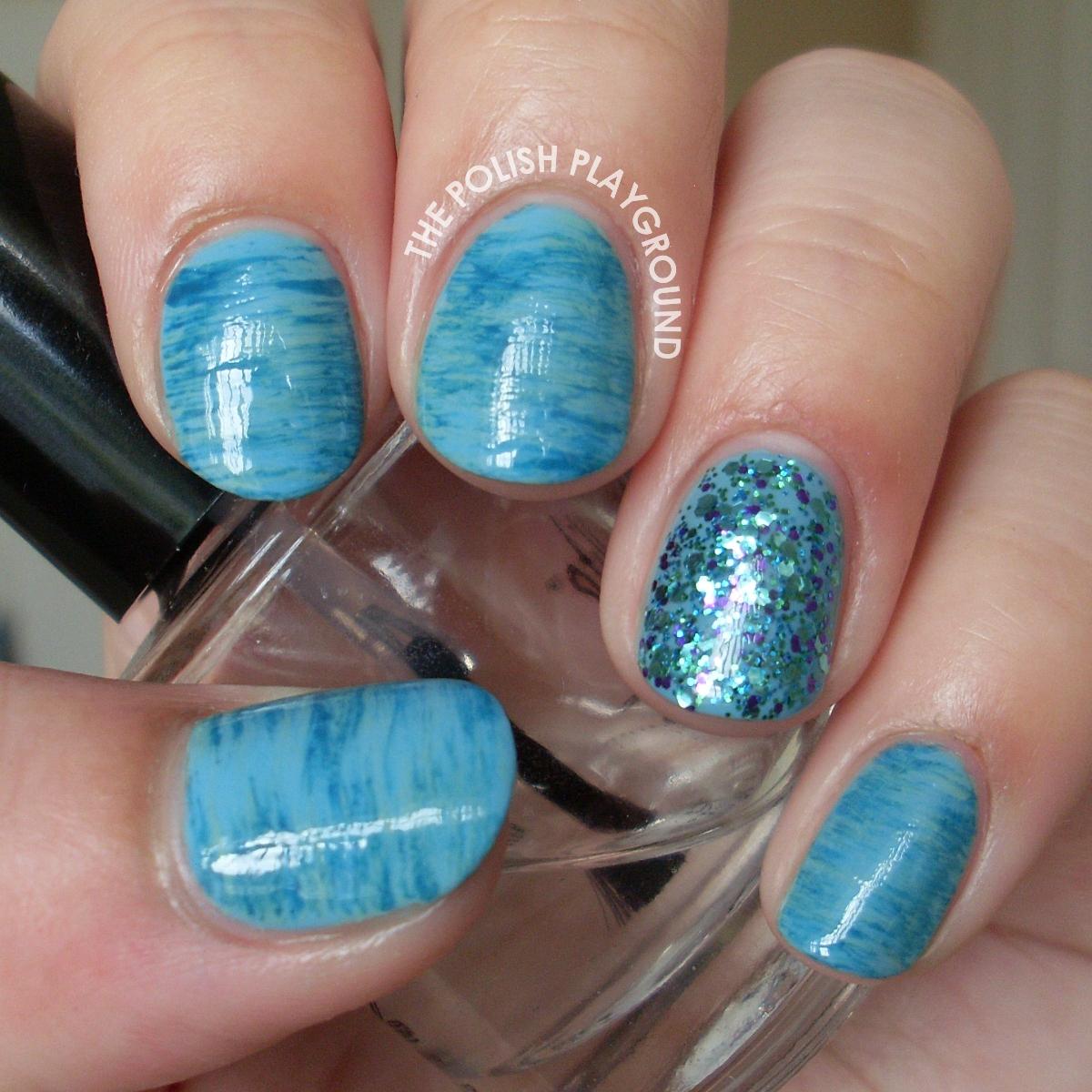 Watery Blue Haze Nail Art