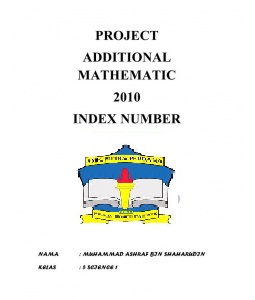 PROJECT WORK ADD MATH 2012