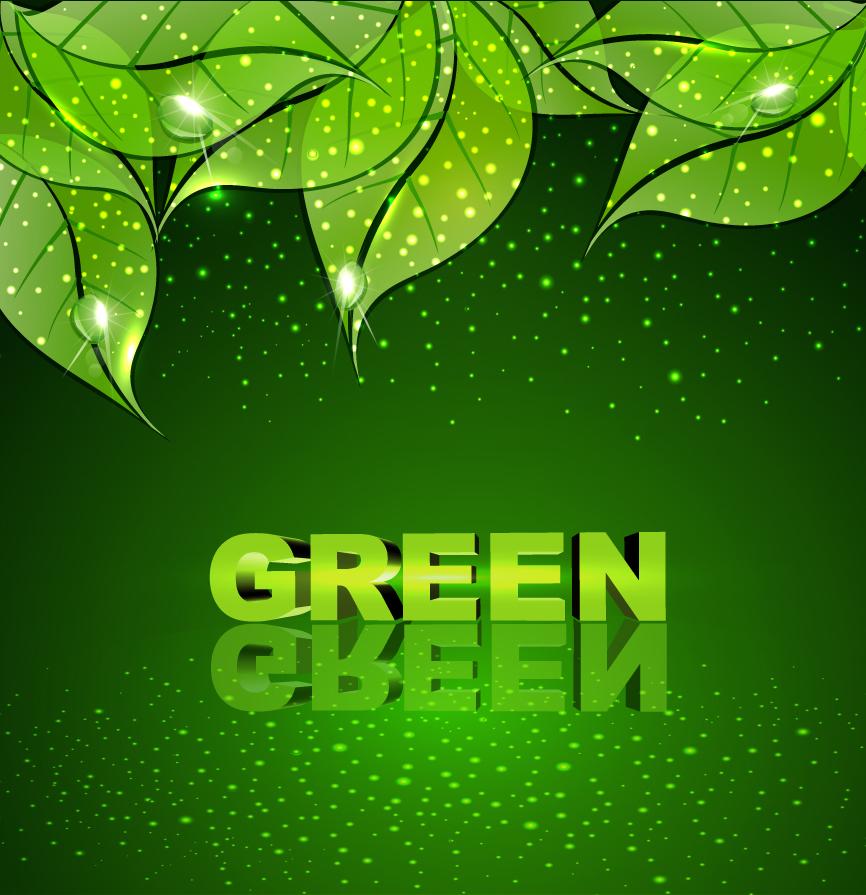 雫が輝く緑の葉の背景 Green leaf vector background イラスト素材