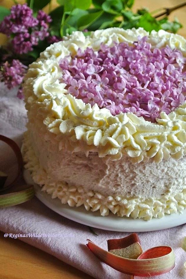 Reginas wilde weiber k che schokolade rhabarberschaum torte mit fliederbl ten ein fruchtig - Lila blumen bestimmen ...