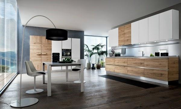 Arredare la cucina con il legno, ma in stile moderno